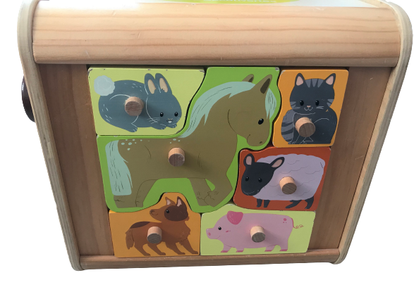 "Large Wooden Activity Cube ""Enchanted Nature"" - 6-in-1 Games"