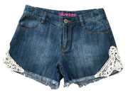 Denim Lace Trim Shorts
