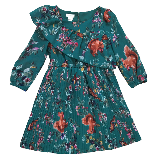 Flower & Squirrel Print Dress