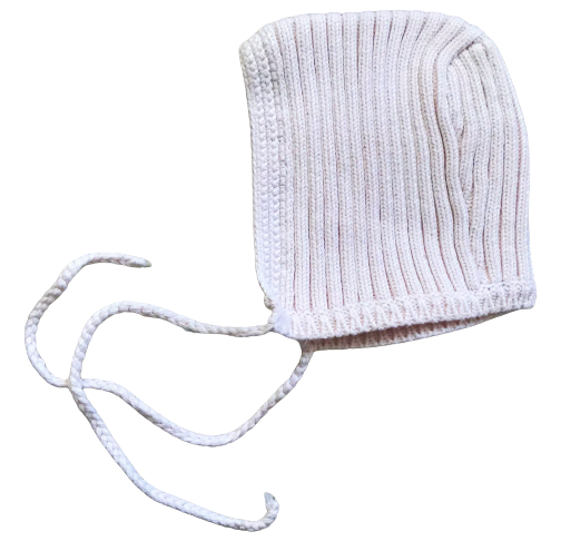 Ribbed Knitted Bonnet Hat