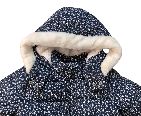 Hooded Puffer Jacket with Faux Fur Lining