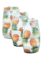 Pineapple Print Organic Nappies Size 5 / 22 Diapers - NEW