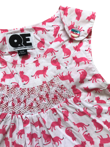 Smocked Cat Print Rompers