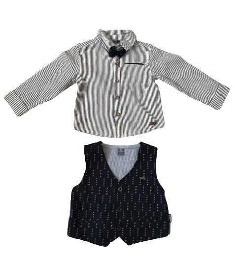 Waistcoat and Shirt with Bow tie Set
