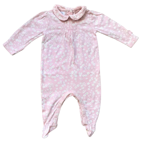 Smocked Pyjama/Sleepsuit with Collar