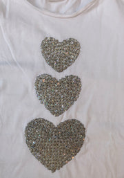 T-shirt with Glittery Silver Hearts
