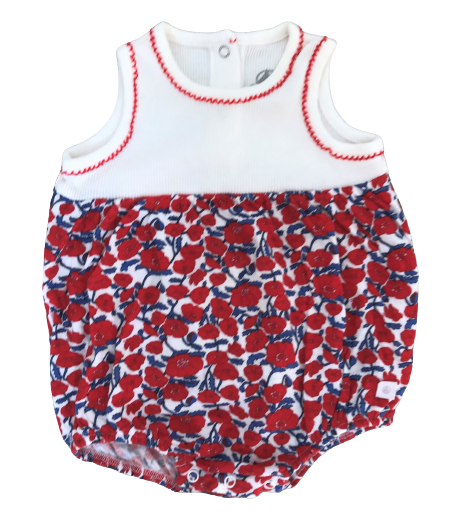 Poppy Print Jersey Rompers