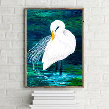 Load image into Gallery viewer, Egret Coastal Art Print in Brilliant White, Blues and Greens