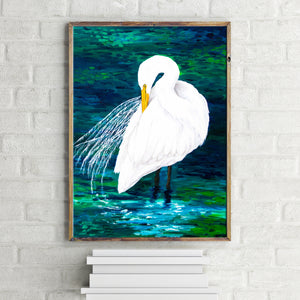 Great Egret Coastal Art Print in Brilliant White, Blues and Greens