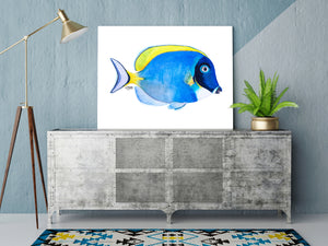 Watercolor Powder Blue Tang Fish Art Print by Alexandra Nicole