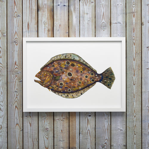 Flounder Watercolor Fish Print