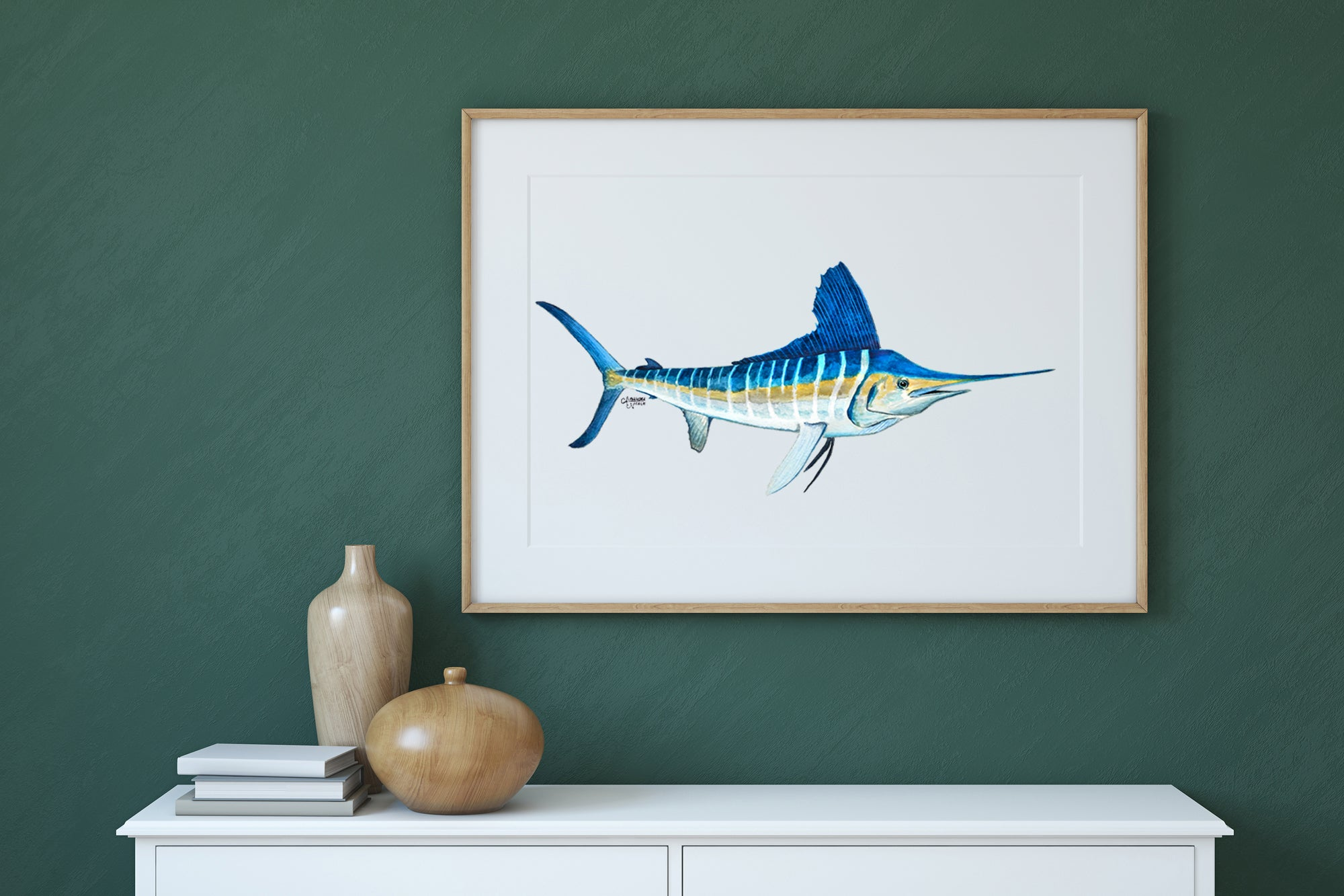 White Marlin Fish Watercolor Art Print, Fish Decor