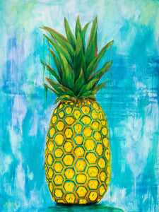 Pineapple Wall Art in Turquoise, Golden Yellow and Green by Alexandra Nicole