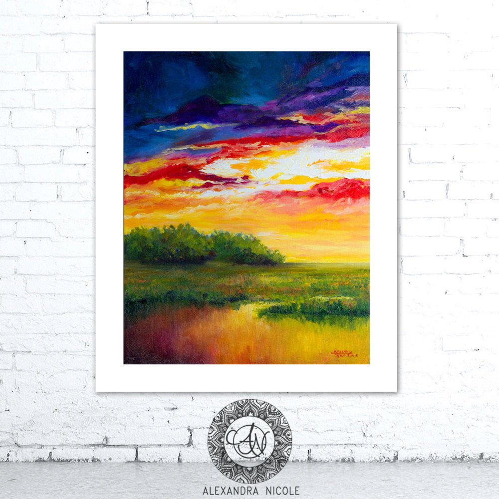 Sunset Painting Coastal Landscape Print Titled Slow Burn