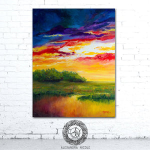 Sunset Painting Coastal Landscape Print by Alexandra Nicole