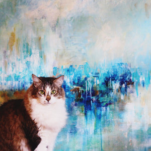 Marley Boy posing with Alexandra Nicole's Blue Abstract titled Land of the Blue