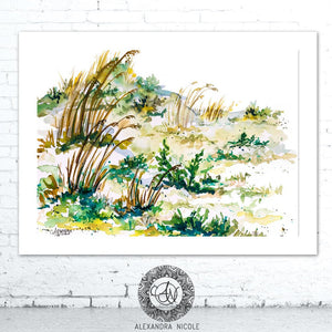 Beach Watercolor Landscape Coastal Art Print