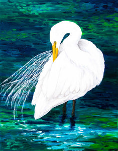 Great Egret With Rich Blues and Greens