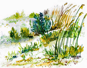 Sea Oats Dunes Watercolor Print