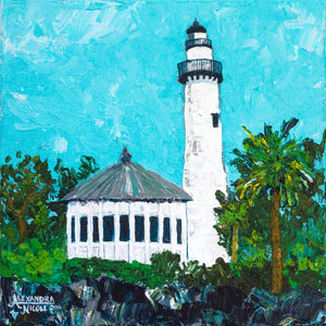 Lighthouse with Blue Sky and Green Trees Art Print