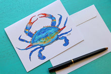 Load image into Gallery viewer, Blue Crab Linen Notecard with Envelope