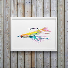 Load image into Gallery viewer, Colorful Clouser Fly Fishing Watercolor Art Print by Alexandra Nicole