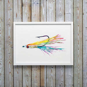 Colorful Clouser Fly Fishing Watercolor Art Print by Alexandra Nicole