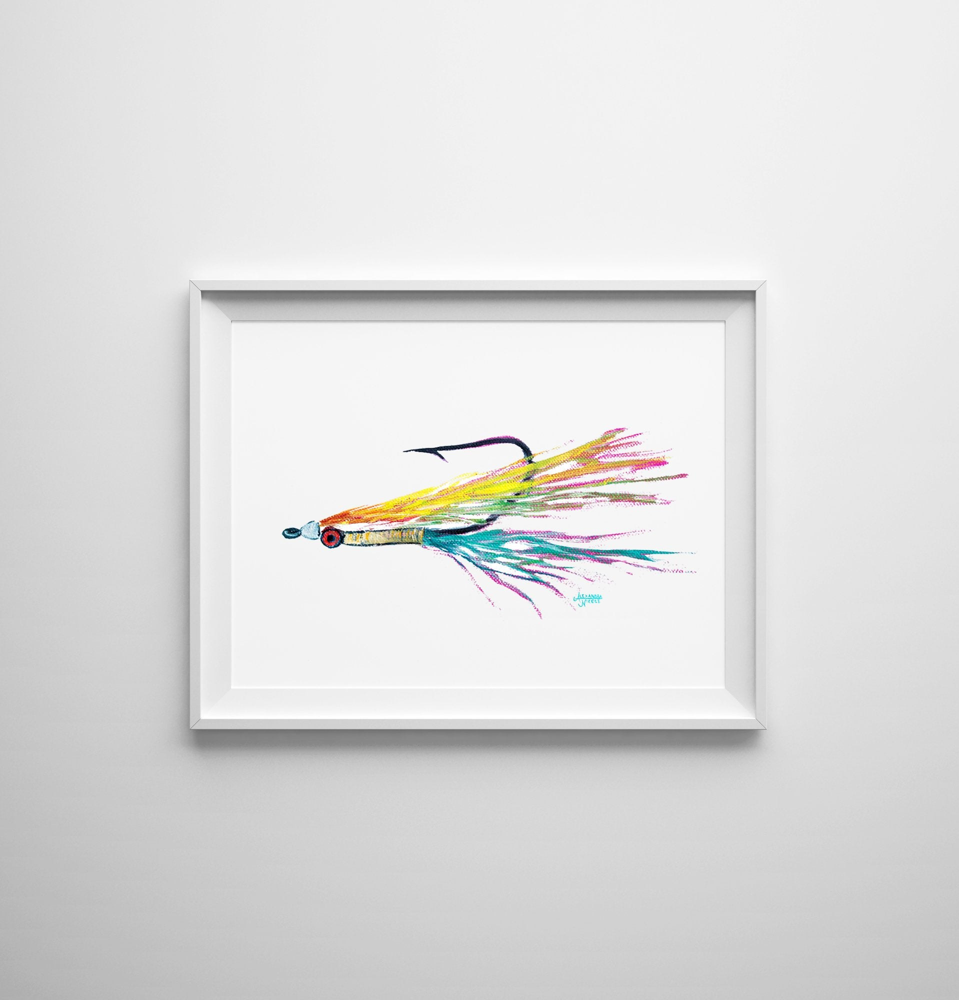 Colorful Clouser Fly Fishing Watercolor Art Print