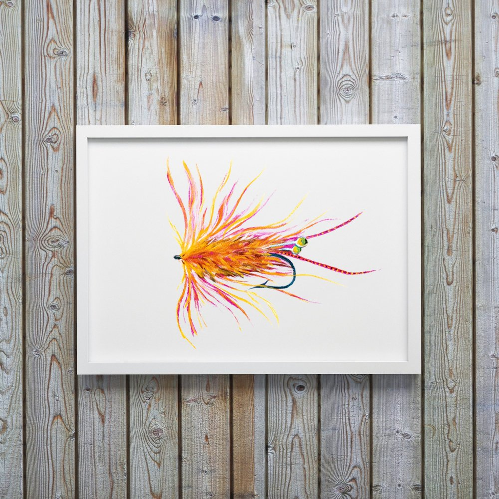 Orange Shrimp Fly Fishing Flies Art Print by Alexandra Nicole