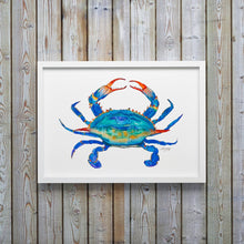 Load image into Gallery viewer, Blue Crab Watercolor Art Print