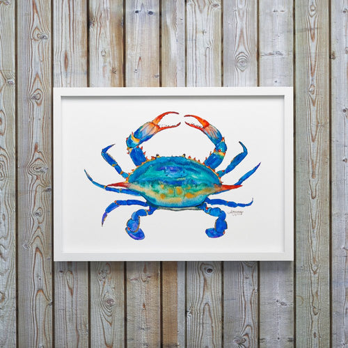 Blue Crab Watercolor Art Print