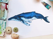 Load image into Gallery viewer, Blue Whale Art Print by Alexandra Nicole