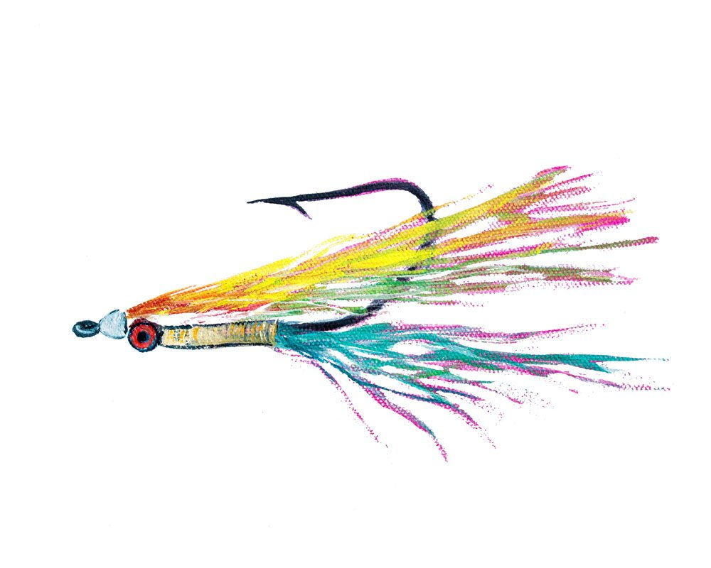 Artist Alexandra Nicole's Colorful Clouser Fly Fishing Watercolor Art Print