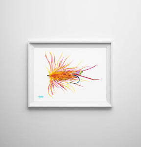 Orange Shrimp Fly Fishing Flies Art Print