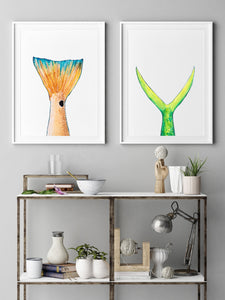 Red Fish and Mahi Mahi Fish Tail Print