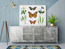 Load image into Gallery viewer, This print features dandelion, dogwood, and various fern botanicals as well as three butterflies, the zebra longwing, monarch, and painted lady.