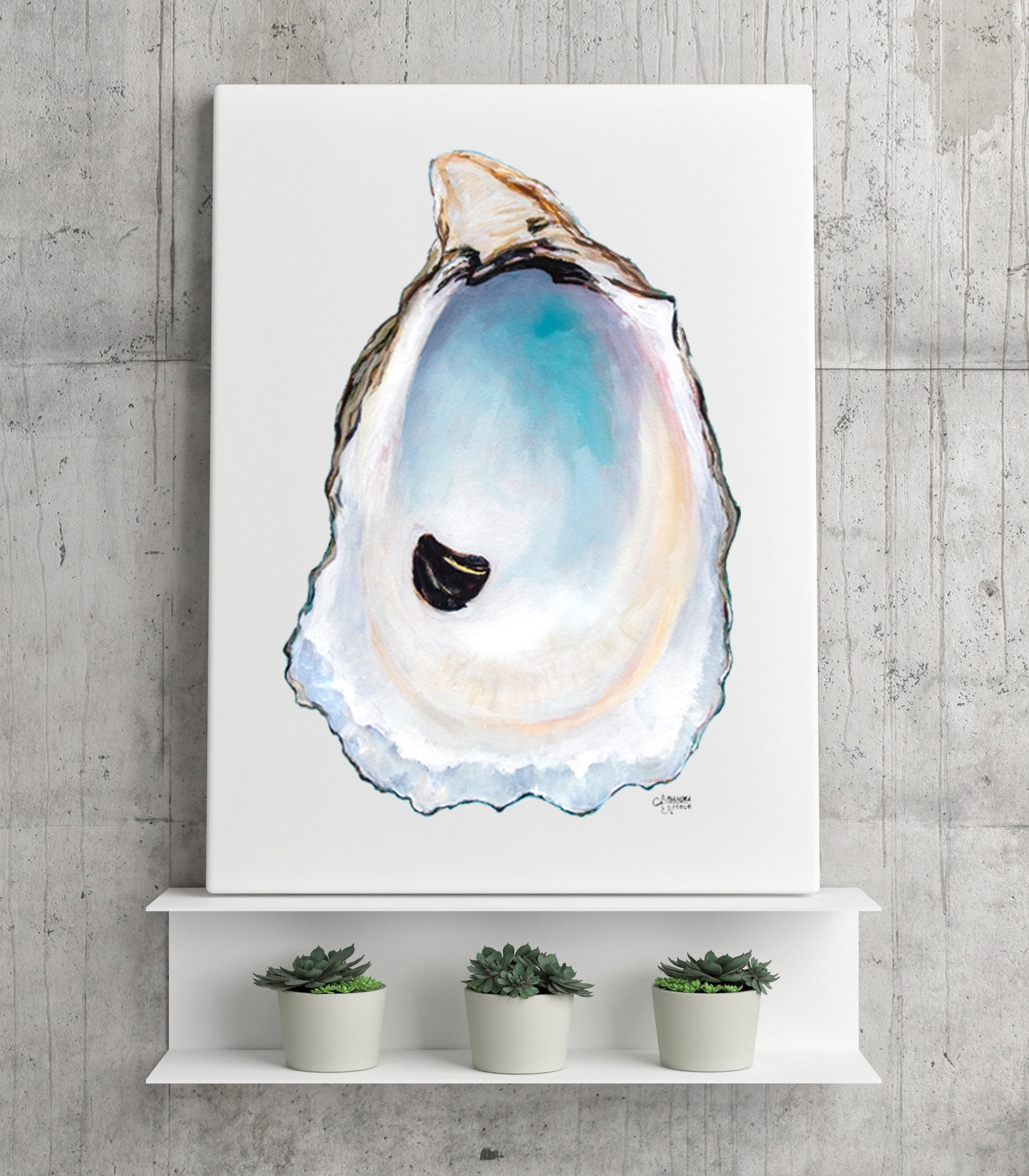 Soft colors of blue highlight this lovely Oyster Shell Art Print by Coastal Artist Alexandra Nicole $27