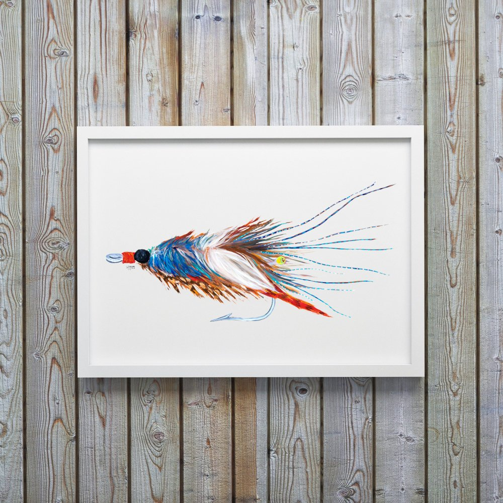 Blue Crab Pattern Saltwater Fly Art Print by Coastal Artist Alexandra Nicole $27