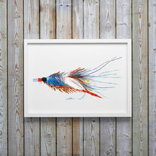 Load image into Gallery viewer, Blue Crab Pattern Saltwater Fly Art Print by Alexandra Nicole