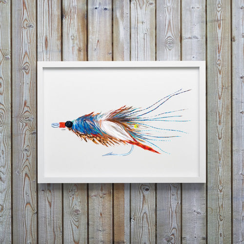 Blue Crab Pattern Saltwater Fly Art Print by Alexandra Nicole