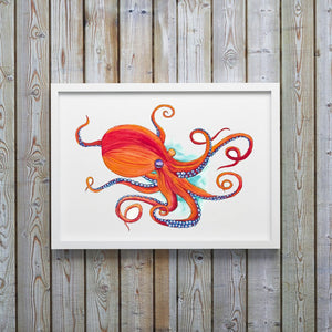 Orange Octopus Watercolor Art Print