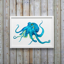 Load image into Gallery viewer, Blue Octopus Watercolor, Octopus Print, Marine Life Watercolor, Watercolor Octopus, Under Sea Nursery, Nature Art, Sea Creature Nursery