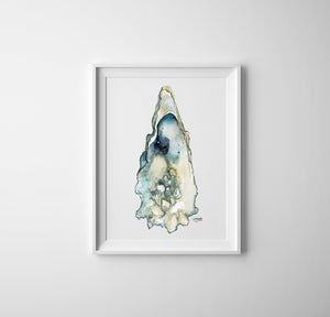 Eastern Oyster Shell Art Print in White Frame
