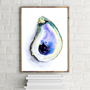 Purple Watercolor Oyster Print by Alexandra