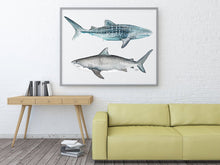 Load image into Gallery viewer, Tiger and Whale Shark Watercolor Painting