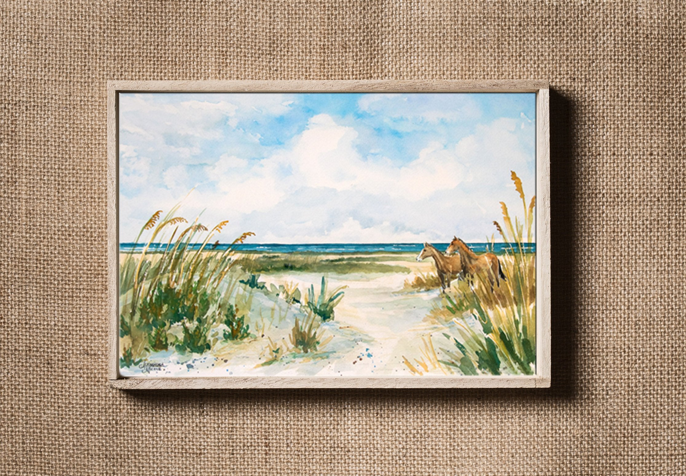 Print Cumberland Island With Horses on the Beach by Coastal Artist Alexandra Nicole $27