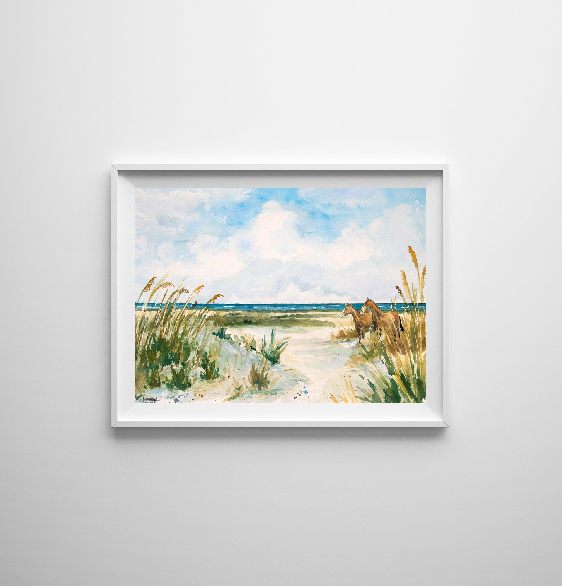 Print of Cumberland Island Beach and Horses Watercolor Print by Coastal Artist Alexandra Nicole $27