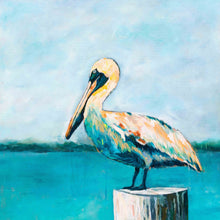 Load image into Gallery viewer, Pelican On A Post Art Print