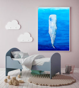 Blue Whale Watercolor Whale Art Print