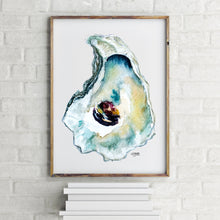 Load image into Gallery viewer, Watercolor of Wellfleet Oyster Shell Art Print by Alexandra Nicole
